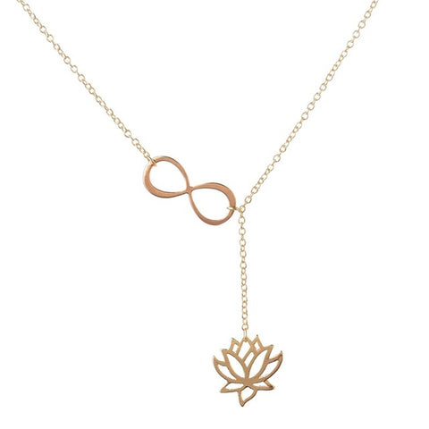 Simple Style Fashion Lotus Lariat Pendant Necklace for Women Lotus Flower Jewelry Necklaces Party Gifts Gold/Silver