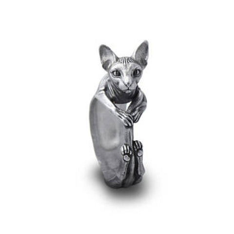 Elfin New Vintage Retro Sphynx Rings Fashion Cute Cat Jewellery Sphynx Ring For Women Men Anillos Mujer Warcraft