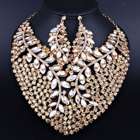 Peacock Feather Design Luxious Bling Crystal Statement Necklace Earring for Women Christmas Party Bridal Jewelry sets FCN029-2