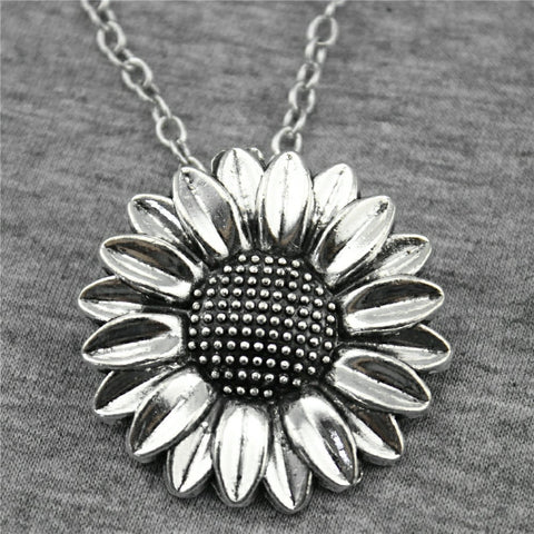 WYSIWYG 2 Colors Antique Silver, Antique Bronze Color 37mm Sunflower Pendant Necklace, 70Cm Chain Long Necklace