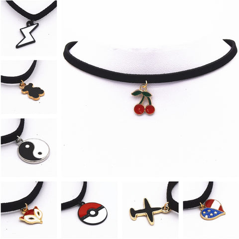 Leather Necklace Torques Pure Black Velvet Leather Maxi Statement Chokers Necklace For Women Collares Fashion Jewelry Colar