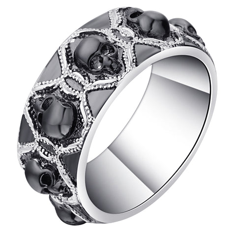 Retro Black Evil Skull Rings For Men Women Silver Color Vintage CZ Gothic Skeleton Design Punk Pave Bands Finger Ring For Party