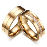 Lovers Rings for Women and Men Stainless Steel Jewelry AAA+ CZ Stone Wedding Band Never Fade or Rust