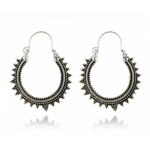 1pair Vintage Silver Color Tribal Totem Hoop Earring Handmade Punk Ethnic Sun Moon Endless Circle Earrings For Women Jewelry