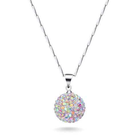 Fashion Lovely AB Crystal Charm Pendant 925 Silver Chain Necklace for women
