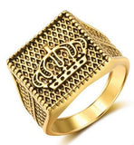 New Arrival Fashion Cool Golden Alloy Crown Signet Finger Ring Knight Ring For Men Women Punk Gothic Biker Wedding Jewelry Gift