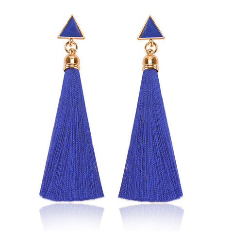Resin Stone Earrings Gold Color Bohemian Vintage Black Blue Red Ethnic Long Fringe Tassel Earrings for Women Jewelry
