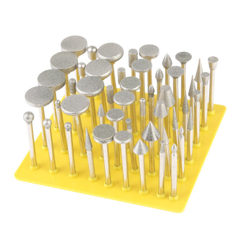 50 PCS Jewelry Tools DIY Metalworking Grinding Diamond Rotary Burrs Fits Dremel Rotary Tool for Stone/Ceramic/Glass/Carbide/Gem