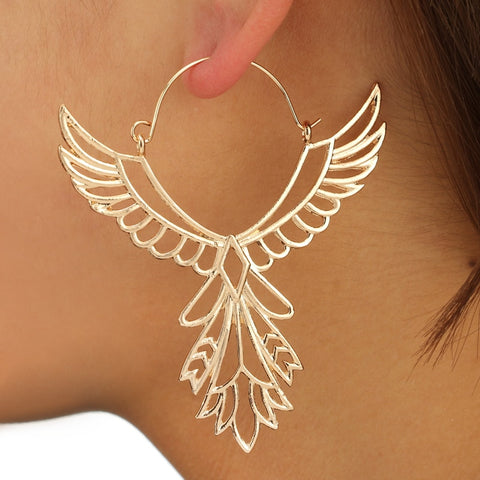 docona Bohemia Hollow Thunderbird Shape Earring Women Alloy Large Wing Feather Hook Earrings Statement Jewelry5839