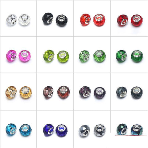 Crystal Glass European Charm Beads Jewellery 10x14mm in Colours For Jewelry Making