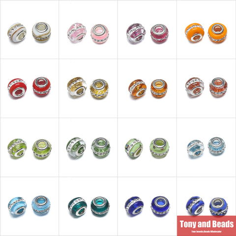 (10Pcs=1lot ! ) ping Lampwork Glass with Crystal Rhinestone European Charm Beads 10x14mm Pick Colour For Jewelry Making