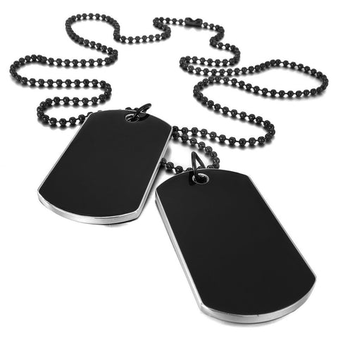 2 PCS Alloy Pendant Necklace Pendant Black Army Style Name Double Dog Tag plate Biker Chain Necklace 27 Inch Man