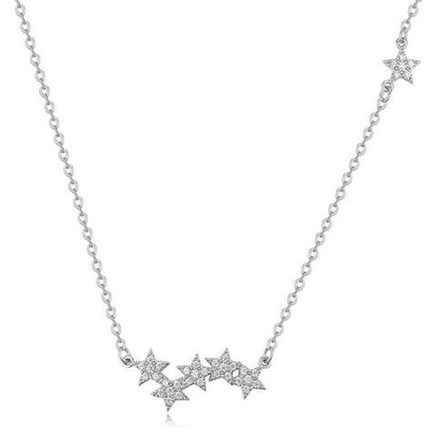 1PC Hot Silver Stars Short Clavicle Crystal Double-sided Zircon Unique Adjustable Pendant Necklaces For Women Fashion Jewelry