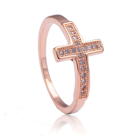 Cross rings for women engagement jewelry wedding gift classic luxury new large rose Gold Color cz promise promise ring