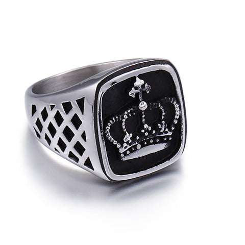 Imperial Crown Ring for Men Classic Stainless Steel Male Ring Quality Titanium Wedding Ring