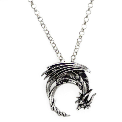 ship Alloy dragon necklace winged dragon on moon pendant medieval symbolic necklace dragon jewelry charmed