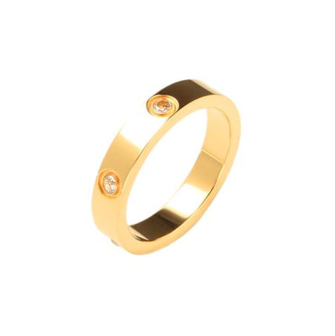 Trendy Rose Gold Color Stainless Steel Rings for Men Women CZ Crystal Inlaid Ring Multi Sizes Luxury Brand Jewelry Wedding Gift