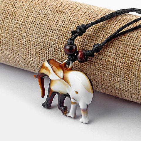 1pcs Faux Yak Bone Resin Carved Elephant Pendant Necklace Adjustable
