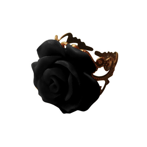 Gothic Style Vintage Jewelry Retro Rings for Women Fashion Colorful Rose Hollow Out Flower Resizable Finger Gothic Ring