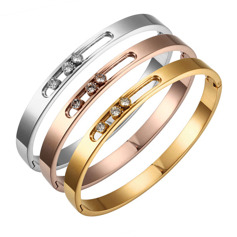 CZ Gold Stainless Steel Woman Bracelet Bangle Crystal Rhinestones Sliding Luxury Wedding Party Band Wristband Jewellery Gift