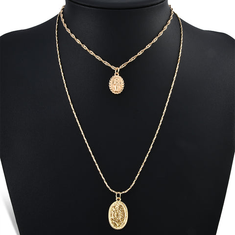 Trendy Religious Style Multi Chain Necklace Gold Vintage Virgin Mary Pendant Necklace for Women Short necklace 2pcs/set