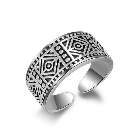 JEXXI Vintage Silver Ring For Women Men Fashion Couple Rings Geometry Cool Design Best Gift For Beloved