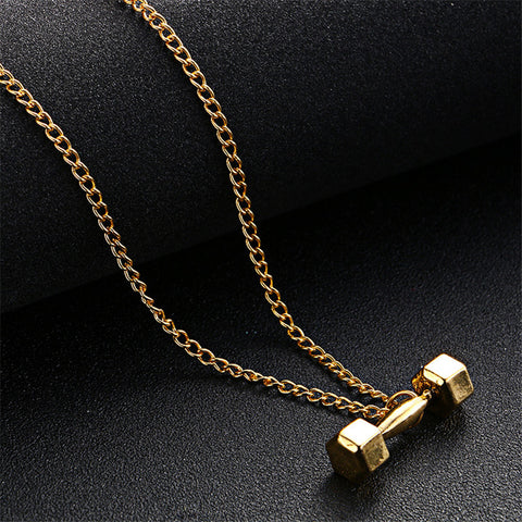 ZORCVENS Men Gold Color GO FIT Dumbbell Gym Fitness Barbell Pendant Necklaces For Men Sport Jewelry