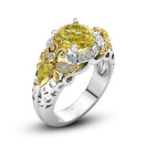 Best Selling New Trendy Accessories Wedding Queen Silver Bee Gems Jewelry Yellow CZ Fashion Crystal Ring Size 6-10