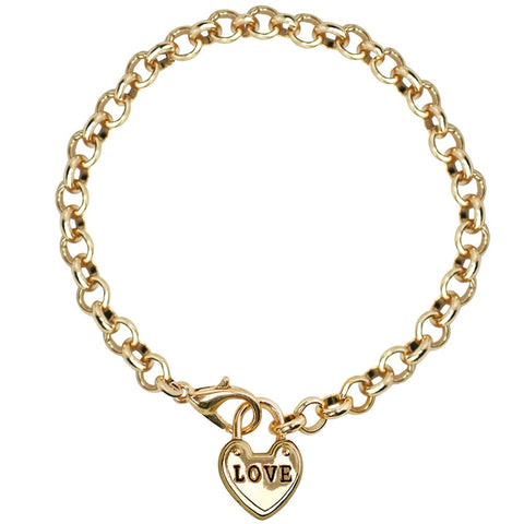 Heart Tag Charms Bracelets Engrave Love Gold Color Chain Link Bilezik Femme For Women Bridal Wedding Tiffan Jewelry Female