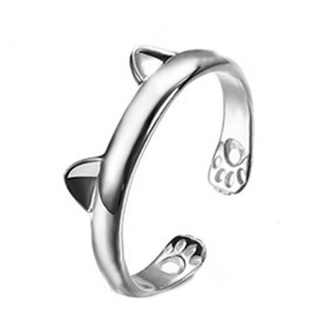 Midi Finger Boho Silver Plated Kitty Cat Ear Ring Cute Tiny Bear Ear Open Ring For Women Girl Child Gifts Adjustable