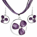 Europe Vintage Enamel Necklace Earrings Silver Jewelry Sets Fashion Flower Dangle Earrings Jewelry Bridal Wedding Sets Women