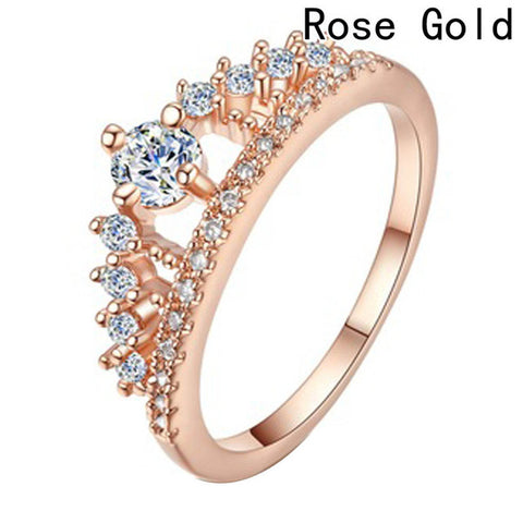 Cubic Zirconia Crown Rings For Women Fashion Crystal Ring Female Party Wedding Engagement Bridal Jewelry