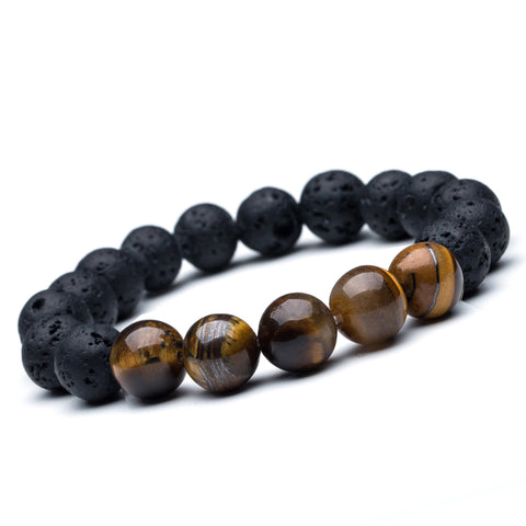 Men's Bead Bracelets Bangles 12mm Tiger Eye Lava Natural Stone Beads Strand Bracelet Braclet for Male Jewelry Accessories