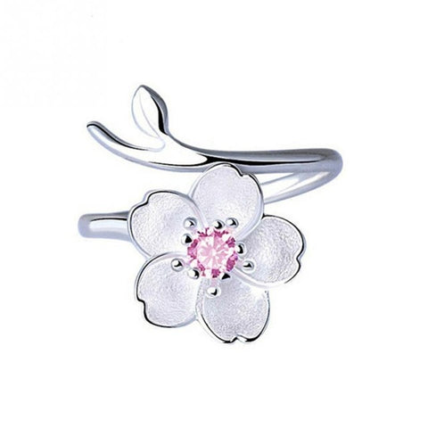 New Arrivals Cherry Blossoms Flower Rings 925 Silve for Women Female Adjustable Size Ring Fashion jewelry