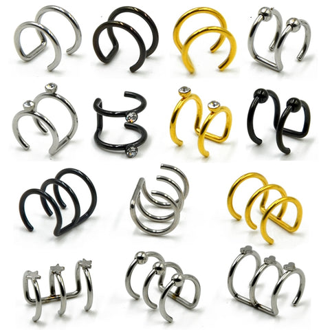 1Pc Stainless Steel Double and Triple Hoop Ear Cuff Clip On Earring Tragus Cartilage Non Closure Rings No