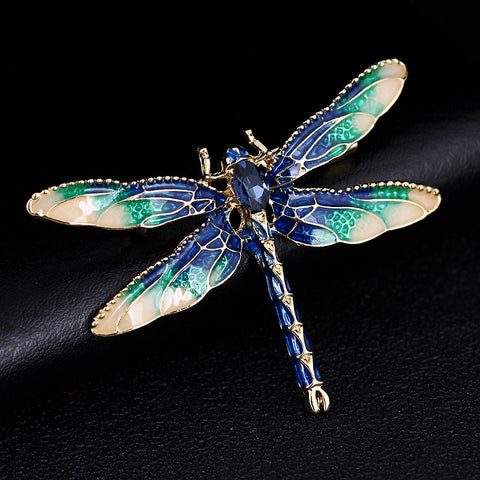 XIHA Dragonfly Brooches for Women Green Enamel Insect Crystal Dragonfly Brooch Men Suit Dress Pin and Brooches shipping X080