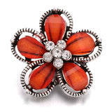 10pcs/lot New Snap Jewelry Ginger Rhinestone Flower 18mm Snap Buttons for Leather Metal Snap Button Bracelet Bangle for Women