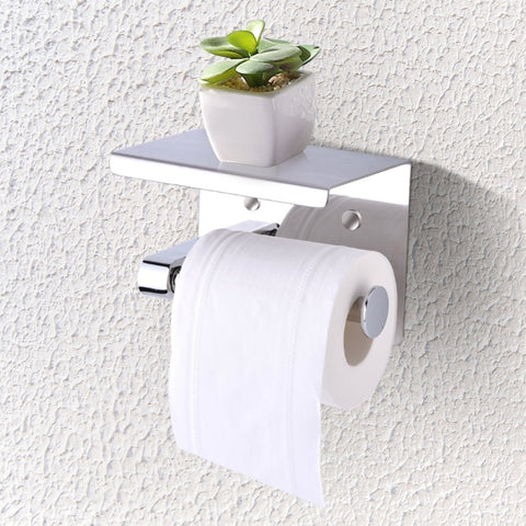 Wall Mounted Tissue Holder Stainless Steel Bathroom Toilet Paper Holder Bathroom Paper Phone Holder with Shelf Towel Rack