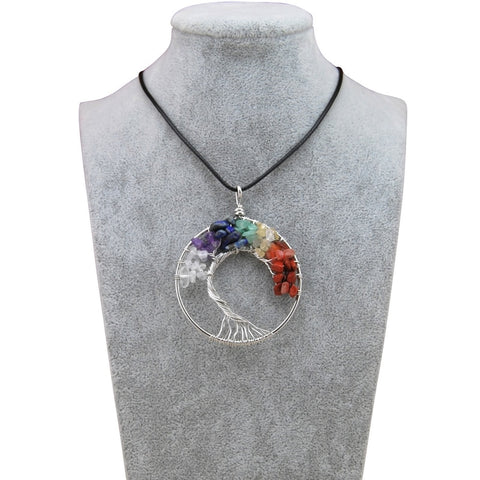 New Rainbow 7 Chakra Tree Of Life Quartz Pendant Necklaces Women Natural Stone Wisdom Tree Choker Necklace Jewelry Gift