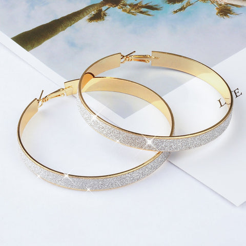 MQ Fashion Earrings Wholesale Gold Hyperbole Big Circle Hoop Earrings Double Circles Textured Earrings For Women Jewelry Brincos