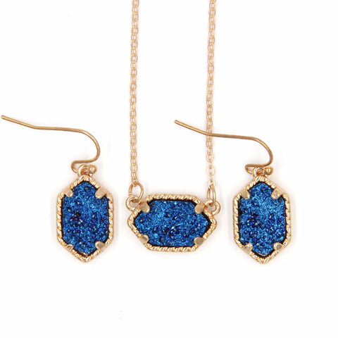 YJX030 Mini Iridescent Druzy Drusy Pendant Necklace With Matching Earrings Hot Fashion Jewelry Sets Super Cute