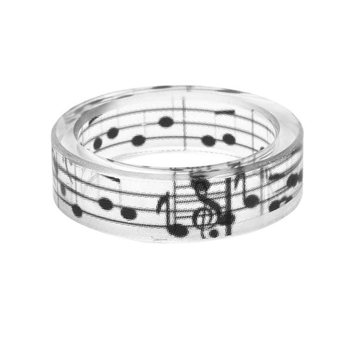 Simple Fashion Musical Note Ring Men Ink Painting Scenery Inside Epoxy Resin Rings Women Finger Punk Jewelry Black And White