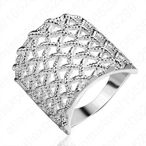 JEXXI Exquisite Real Pure 925 Silver Rings Hollow Design Man Woman Special Wide Rings 2 Sizes US And Europe Jewelry