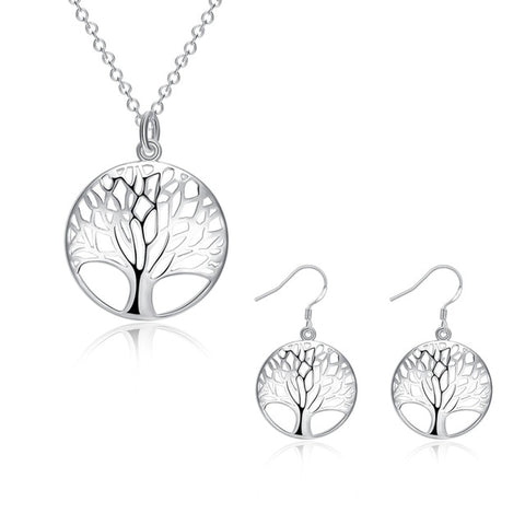 Creation Silver Tree Of Life jewelry bridal set necklace earring totem gift wife girl wedding wholesale jewellery 925