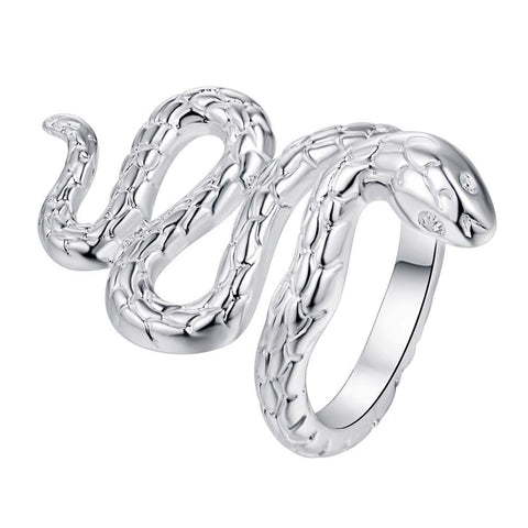 SALE mom Promotion Hot silver Ring Snake shape chic style women men uni Party factory store unique adjustable open