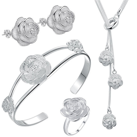 Rose Flower Set silver Jewelry sets Necklaces Earrings ring bangle size 8 18inch Women wholesale price promotion