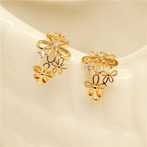 hot Fashion Simple cute Non-pierced Ear Cuff Flowers Crystal Clip Earrings for Women cheap Jewelry Brincos wholesale