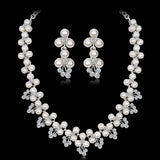 Heart Crystal Imitation pearls Wedding Bridal Jewelry Sets Silver Color Rhinestone Wedding Jewelry Necklace Sets for Women