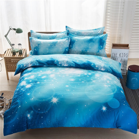 3D Printing Blue Starry Bed Linen BS95 Single Double Twin/Queen Nebula Bedding Sets Duvet Cover Flat Sheet Pillowcases
