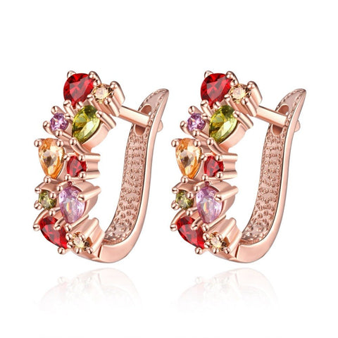 Marcatsa Colorful Cubic Zirconia Clip Earrings for women rose Gold Jewelry Red crystal Earring female Wedding Party gift